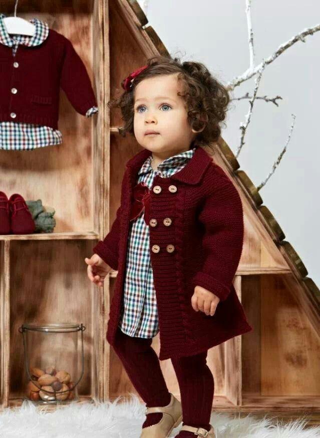 b92d64747 Abrigo punto granate | Para EMMA | Ropa bebe niña, Ropa para niñas y ...