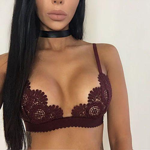 Sexy Women s Lace Floral Bralette Bralet Bra Bustier Crop Top Unpadded Bra  Top d70ac88d3