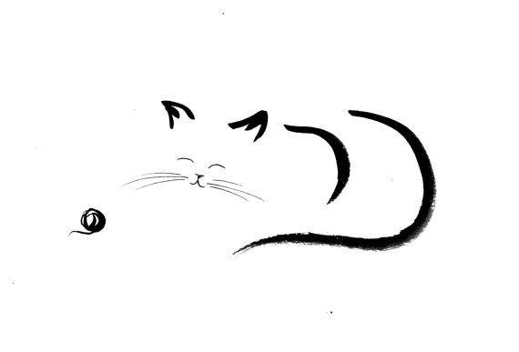 dessin,original,a,lencre,de,chine,chat