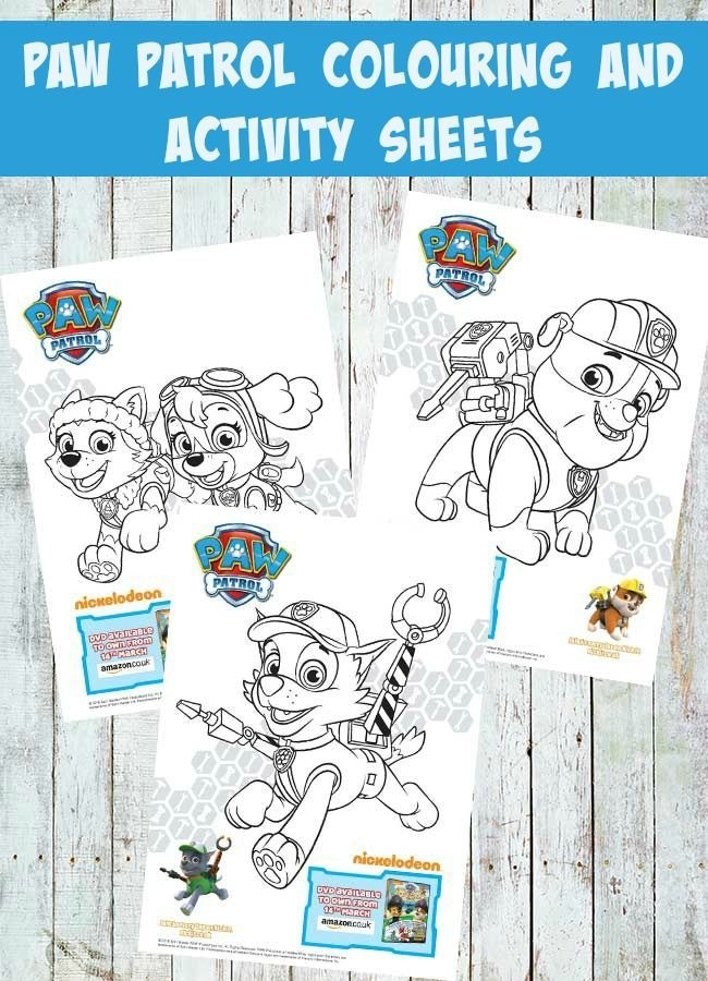 Paw Patrol Colouring And Activity Sheets Pups And The