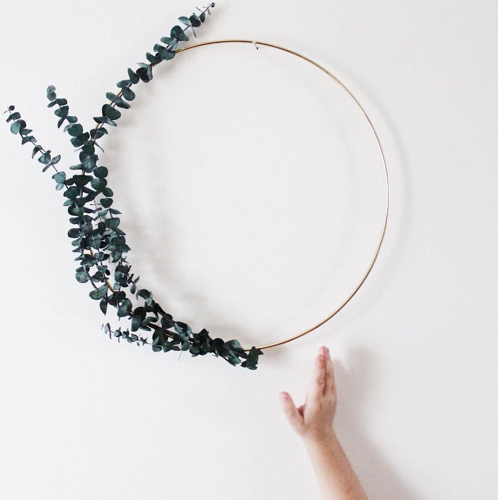 Photo of Eucalyptus wreath, minimalist wreath, floral wreath, Scandinavian wall wreath, nursery decor