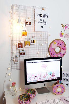 diy fotowand selber machen schreibtisch deko basteln pinterest diy fotowand schreibtisch. Black Bedroom Furniture Sets. Home Design Ideas