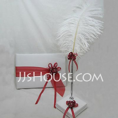 red/white/blue wedding Guestbook - $28.99 - Beautiful Satin Ribbons/Sash Guestbook/Pen Set (101018194) http://jjshouse.com/Beautiful-Satin-Ribbons-Sash-Guestbook-Pen-Set-101018194-g18194