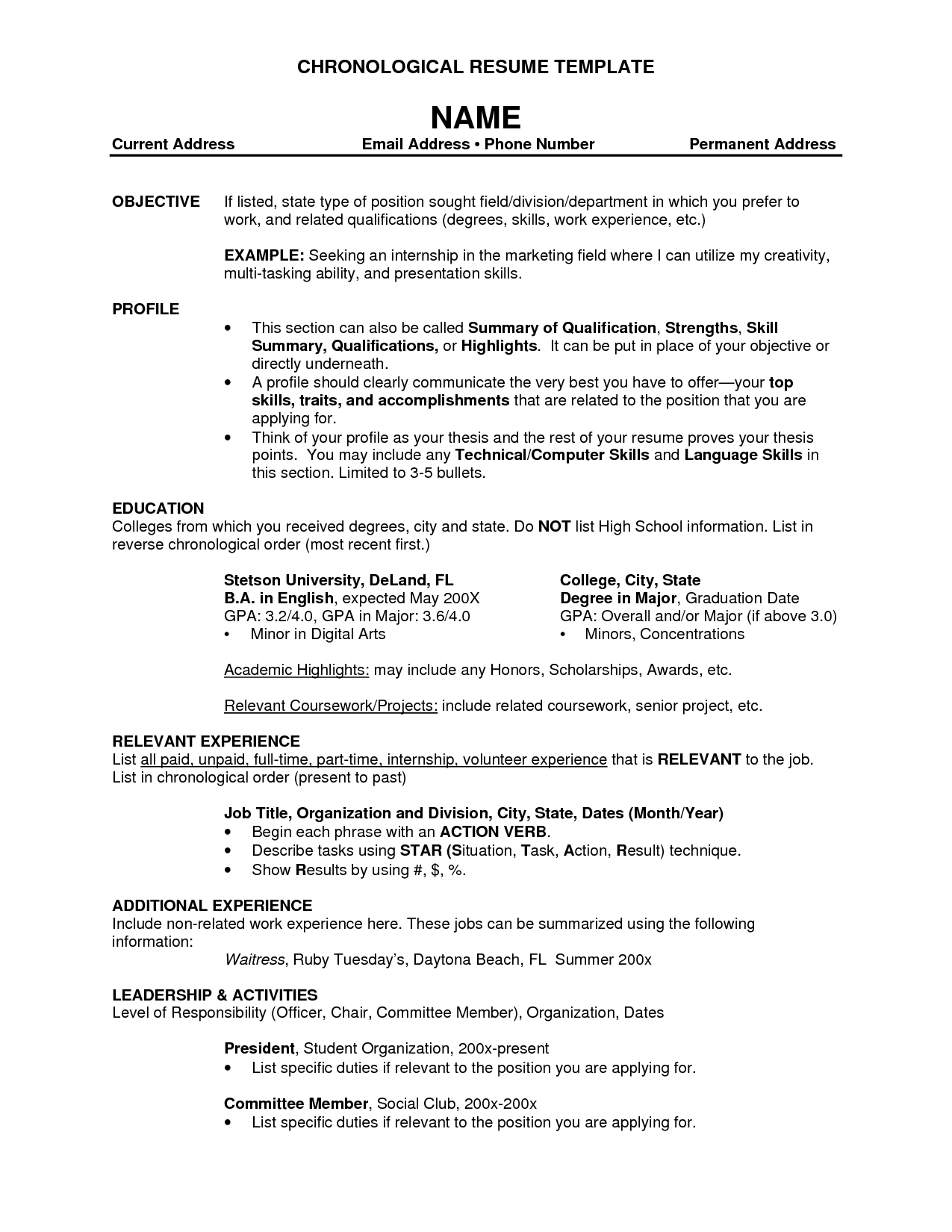 Standard Resume Format Template Blank Federal Government Jobs Job