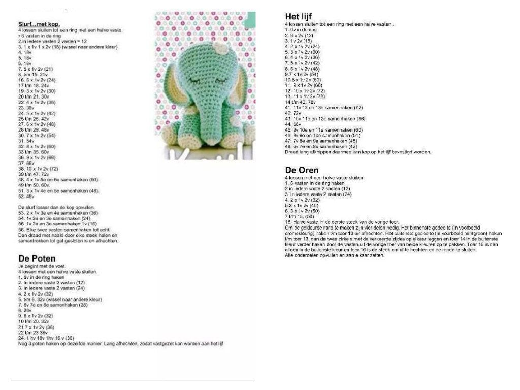 gratis patroon olifantje haken | haken | Pinterest | Haken, Patrones ...