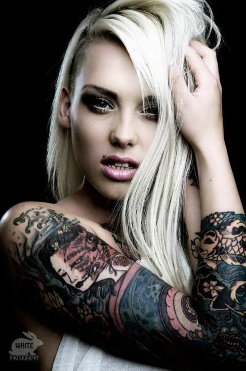 Punk blonde tattooed babe http www for Sexy naked tattoo girls