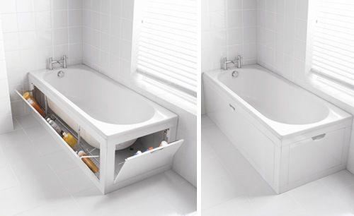 Una tina de baño con espacio de almacenamientos ocultos DECORACION