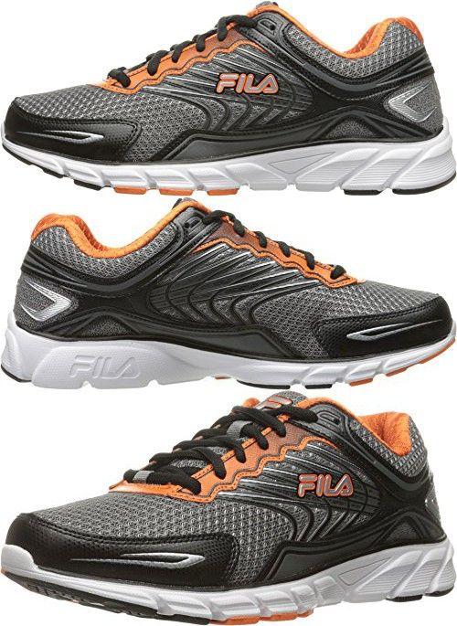 Fila Men's Memory Maranello 4 Running Shoe, Dark Silver/Black/Vibrant Orange ,