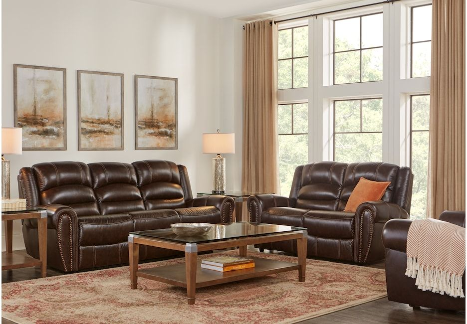 Donelle Brown Leather 3 Pc Living Room With Reclining Sofa Reclining Sectionals Brown Reclining Sectional Living Room Leather Dinette Sets