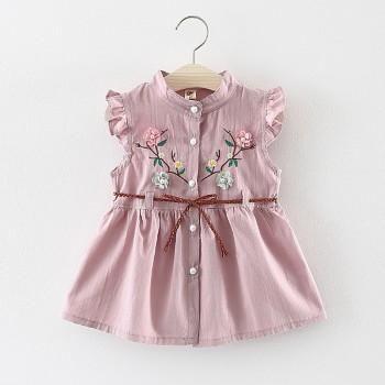 b072197d3b18 Pretty Flower Decor Sleeveless Dress for Baby Girls