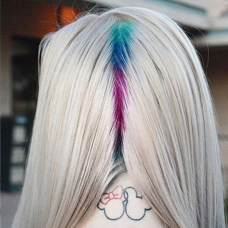 Hidden Rainbow Roots Hair Trend   POPSUGAR Beauty