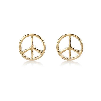 watches earrings childrens jewelry gold children s yellow product peace sign stamping free stud