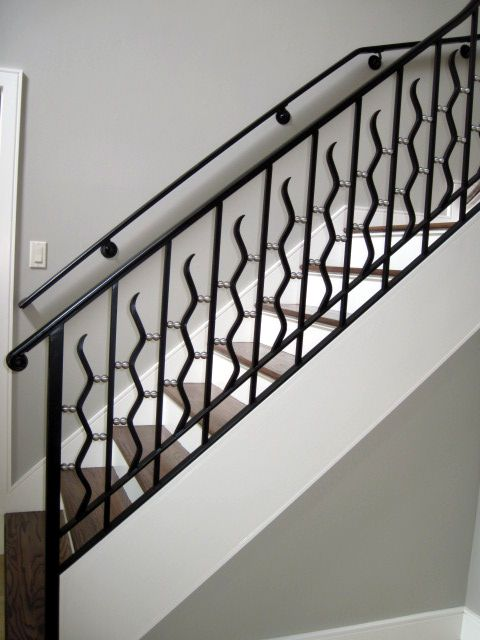 Railing With Wall Mounted Hand Rail Iron Railing Wrought Iron