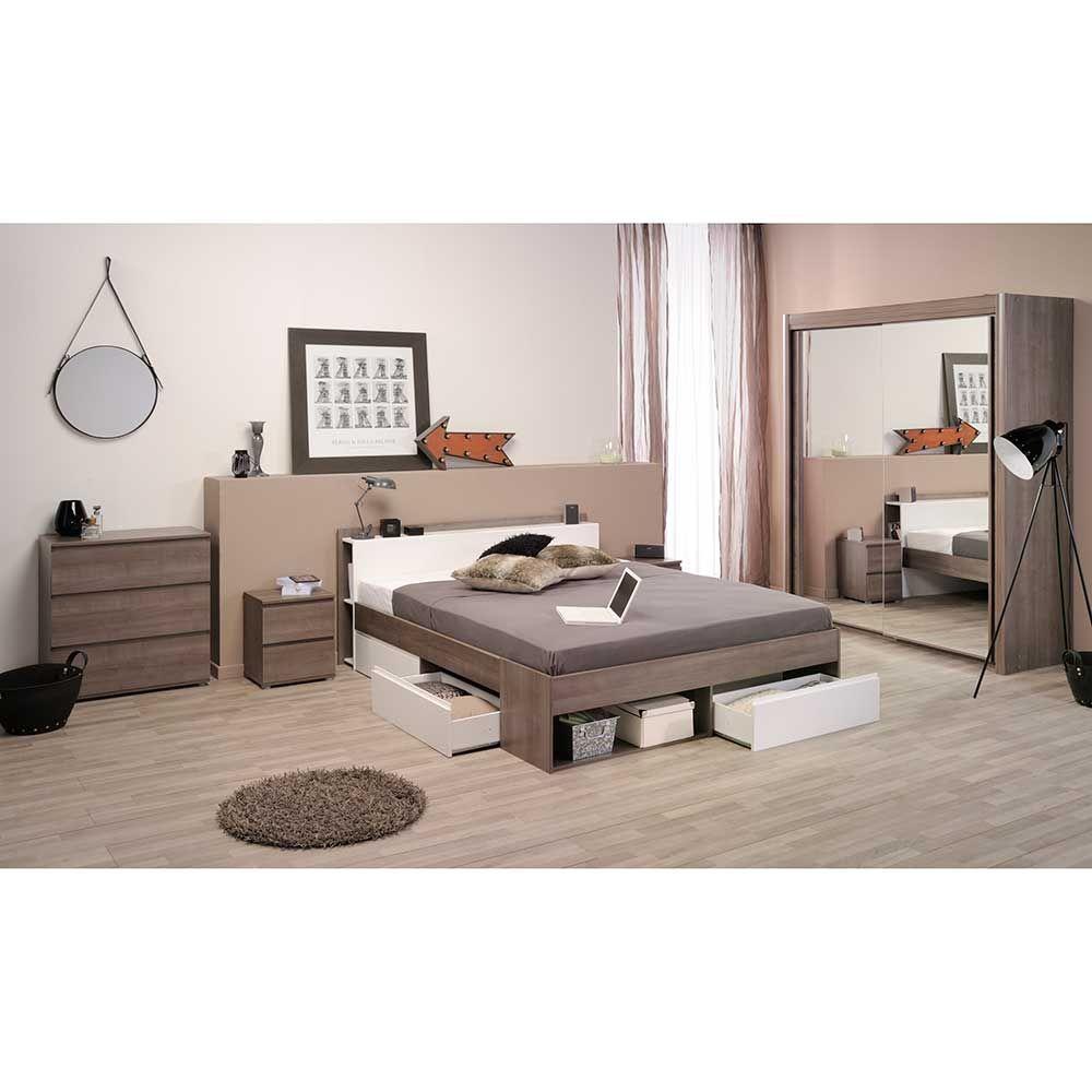 Schlafzimmermöbel Set in Eiche Silber Weiß komplett (5