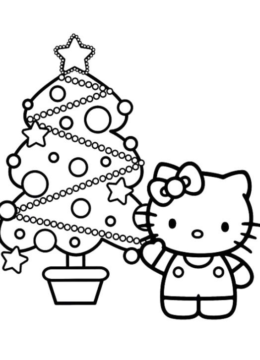 Hello Kitty Christmas Tree Adorned With Attractive Coloring Pages
