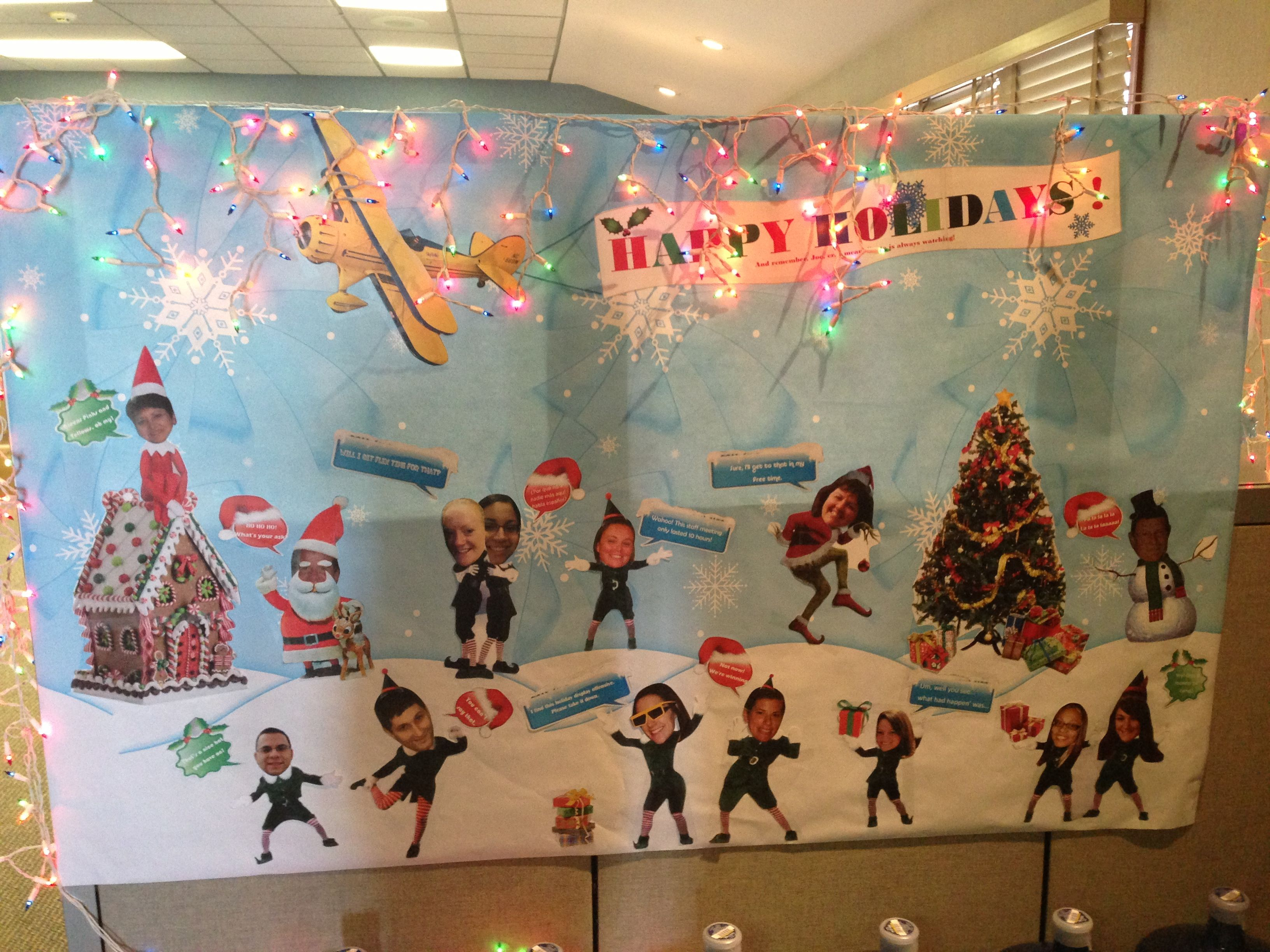 Cubicle office mural holiday decoration holiday fun for Cubicle decoration xmas