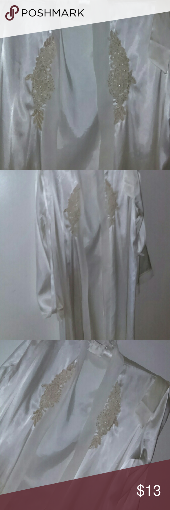 White Silky Like Robe Very nice robe with lace decor. Size S/M. In excellent condition. Any questions please ask. Thanks for viewing. Happy poshing! Intimates & Sleepwear Robes