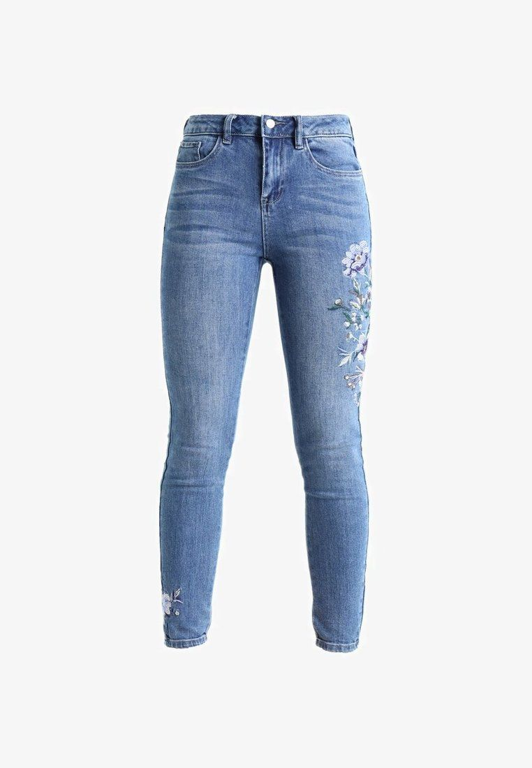 New Look EMBROIDERED BUSTED KNEE DEVON - Džíny s úzkým střihem - mid blue -  Zalando 3112e68e1a