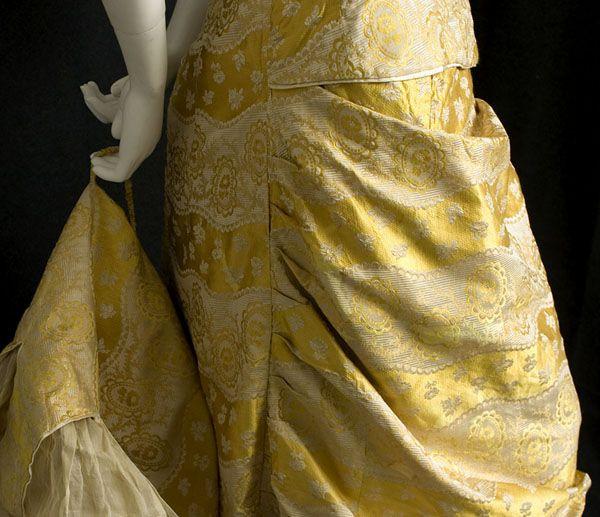 Satin damask bustle gown with provenance, c.1876, natural form bustle dress, $1800