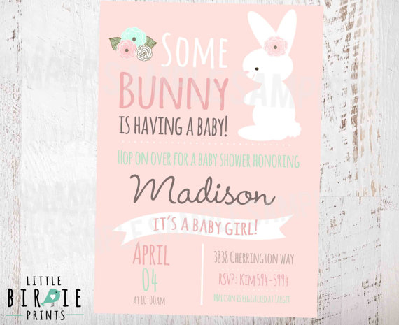 Bunny Baby Shower Invitation By Littlebirprints