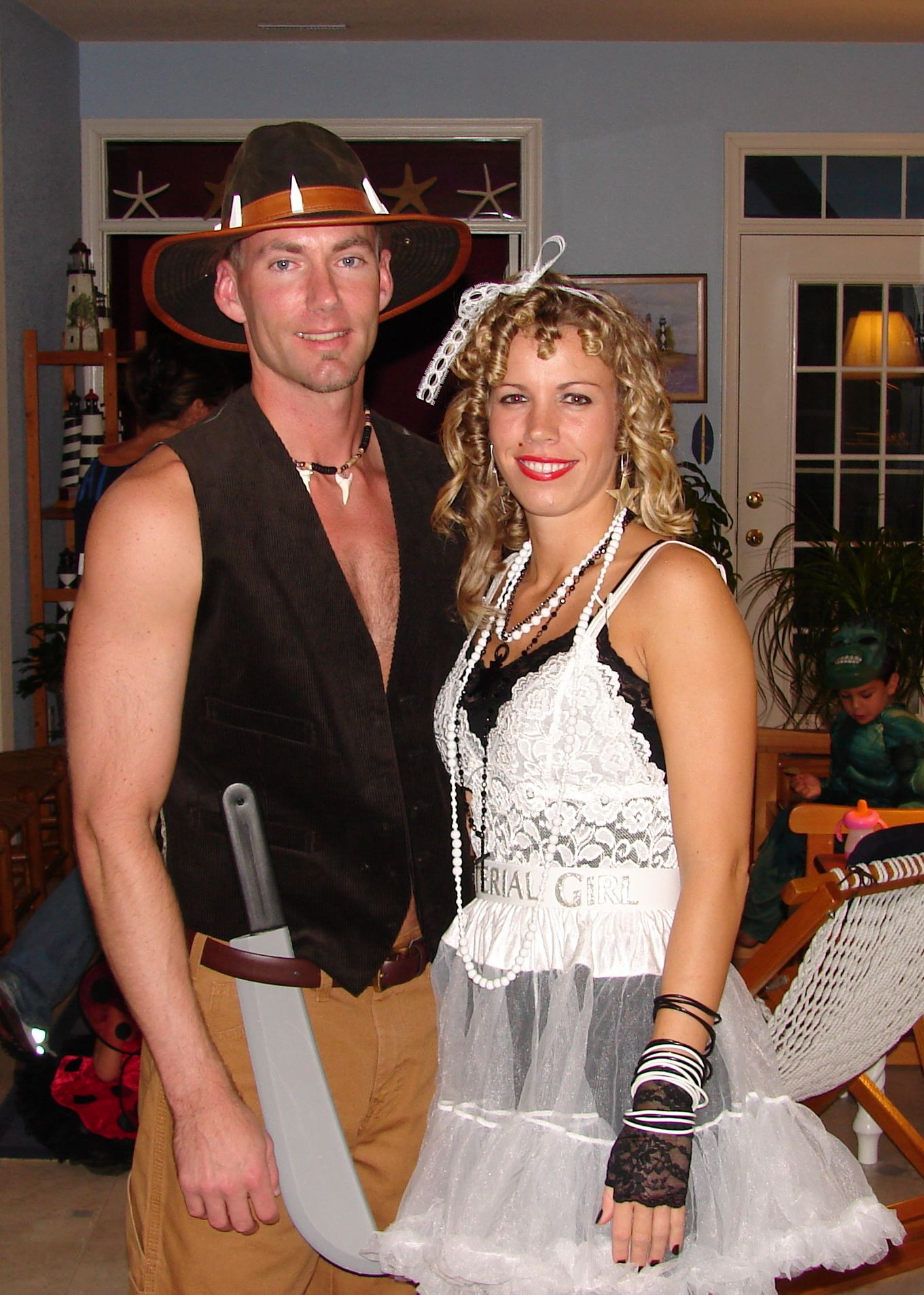 """our 2008 halloween costumes- madonna """"material girl"""" & crocodile"""