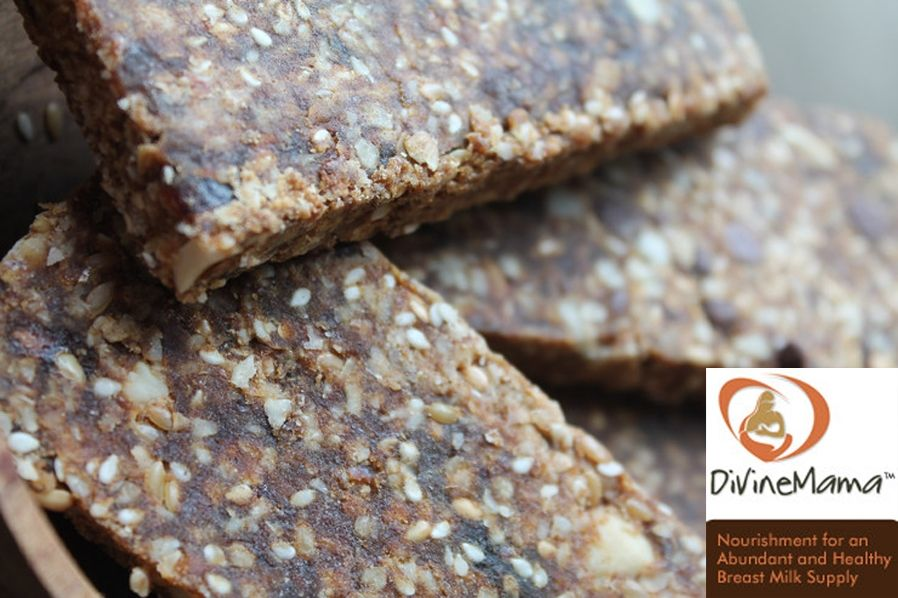 Two flavors: Macnut Chocolate Chip and Datey Apricot Cashew.  Divine Mama Bars are 100% all-natural and made with lactogenic (milk-producing) ingredients, with no artificial sweeteners, no processed starches, and no new food technology.