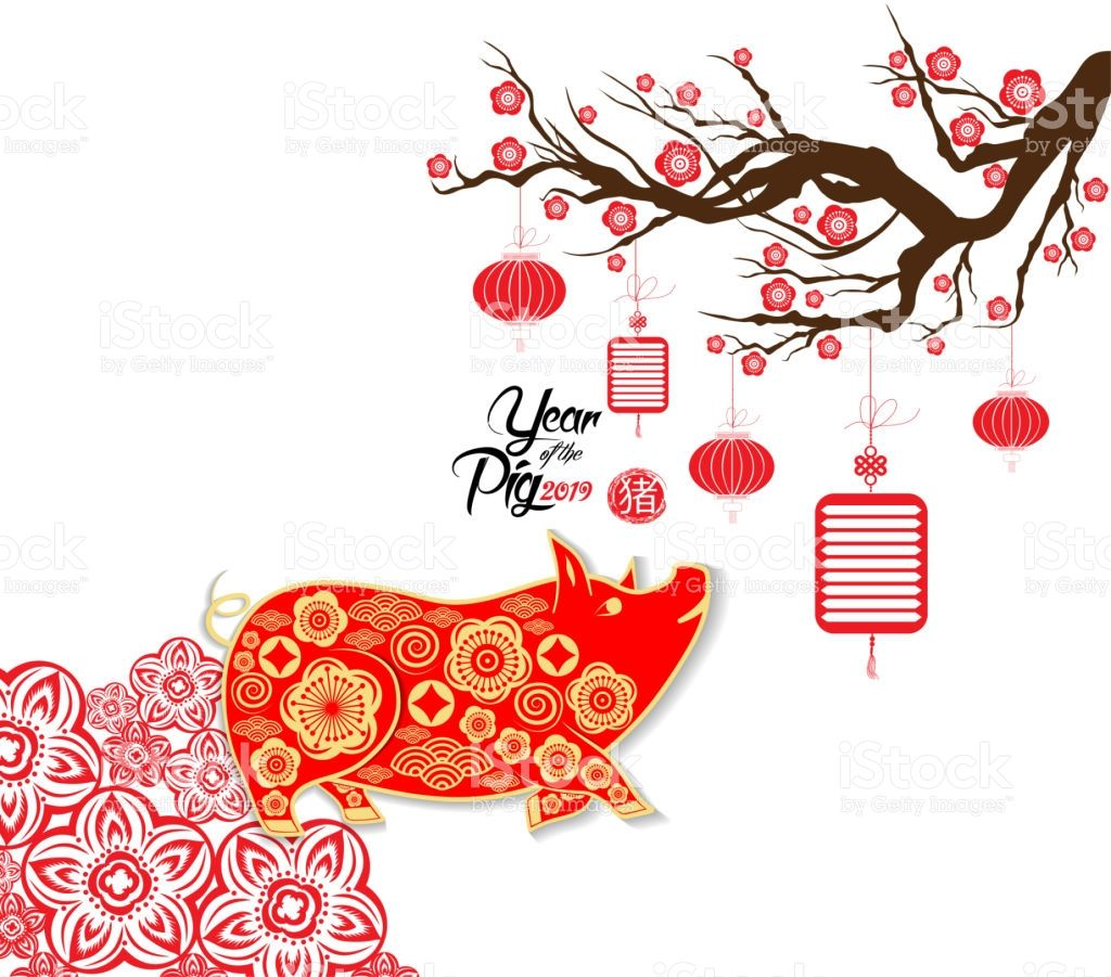 Happy Chinese new year 2019 card year of pig Chinese new