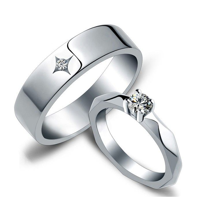 name inscribed diamond wedding rings for bride and groom - Grooms Wedding Ring
