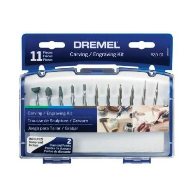Dremel Rotary Tool Carving Engraving Kit For Stone Glass And Terra Cotta 11 Piece 689 01 The Home Depot Dremel Carving Dremel Engraving Dremel