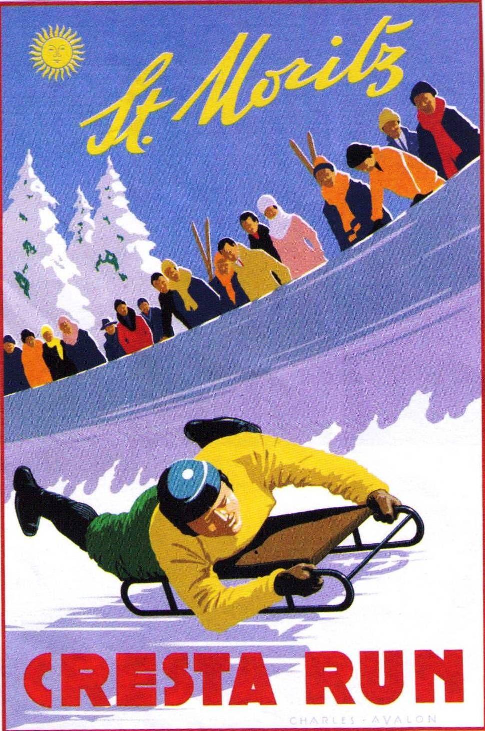 GIRL DOWNHILL SKIING SKI FUN ST MORITZ SWITZERLAND SPORT VINTAGE POSTER REPRO
