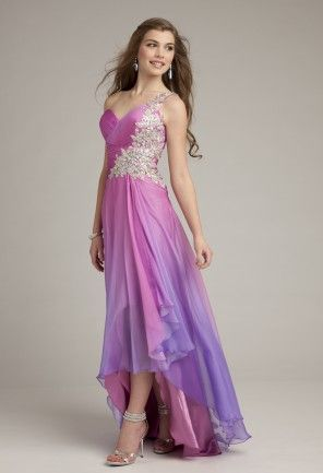 Prom Dresses 2013 - Ombre Long Chiffon One Shoulder Prom ...