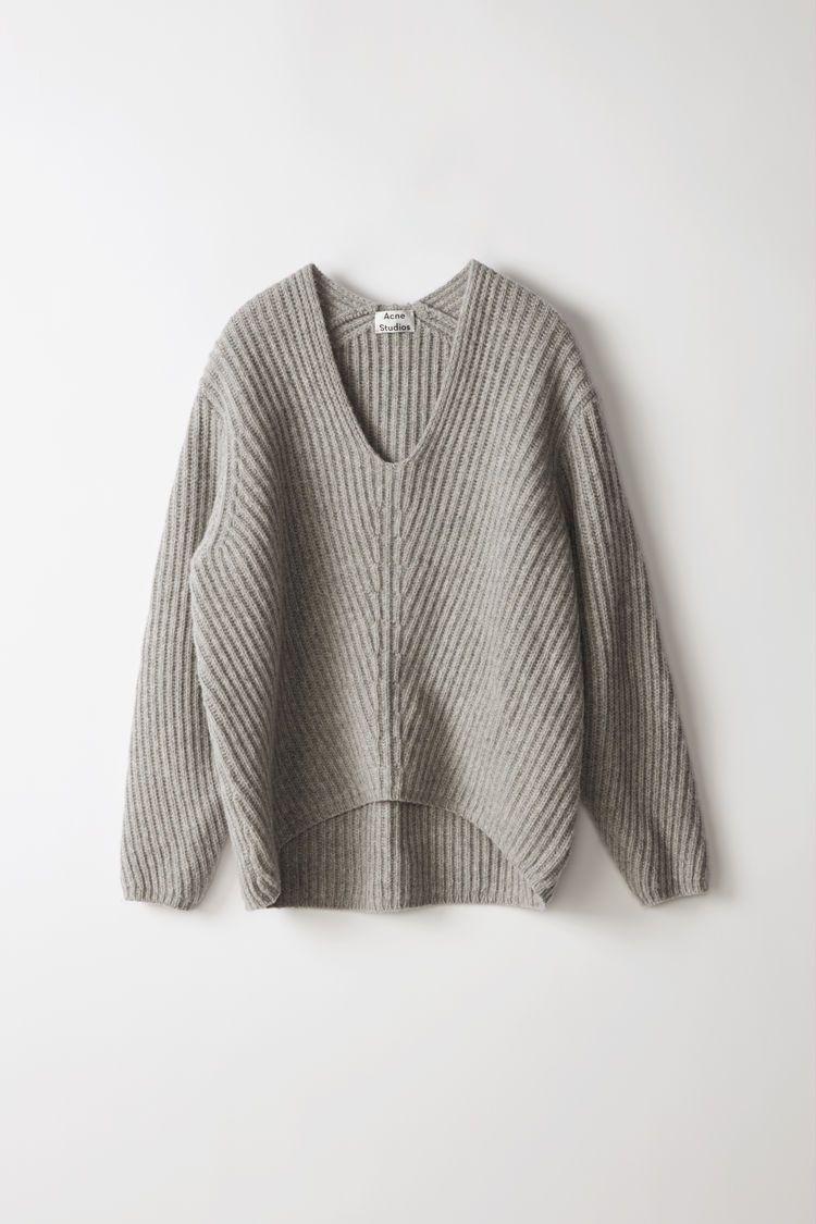Acne Studios - Deborah Lambswool pale grey melange roomy fitting sweater  with a very deep v-neck 4606aa9e0b1