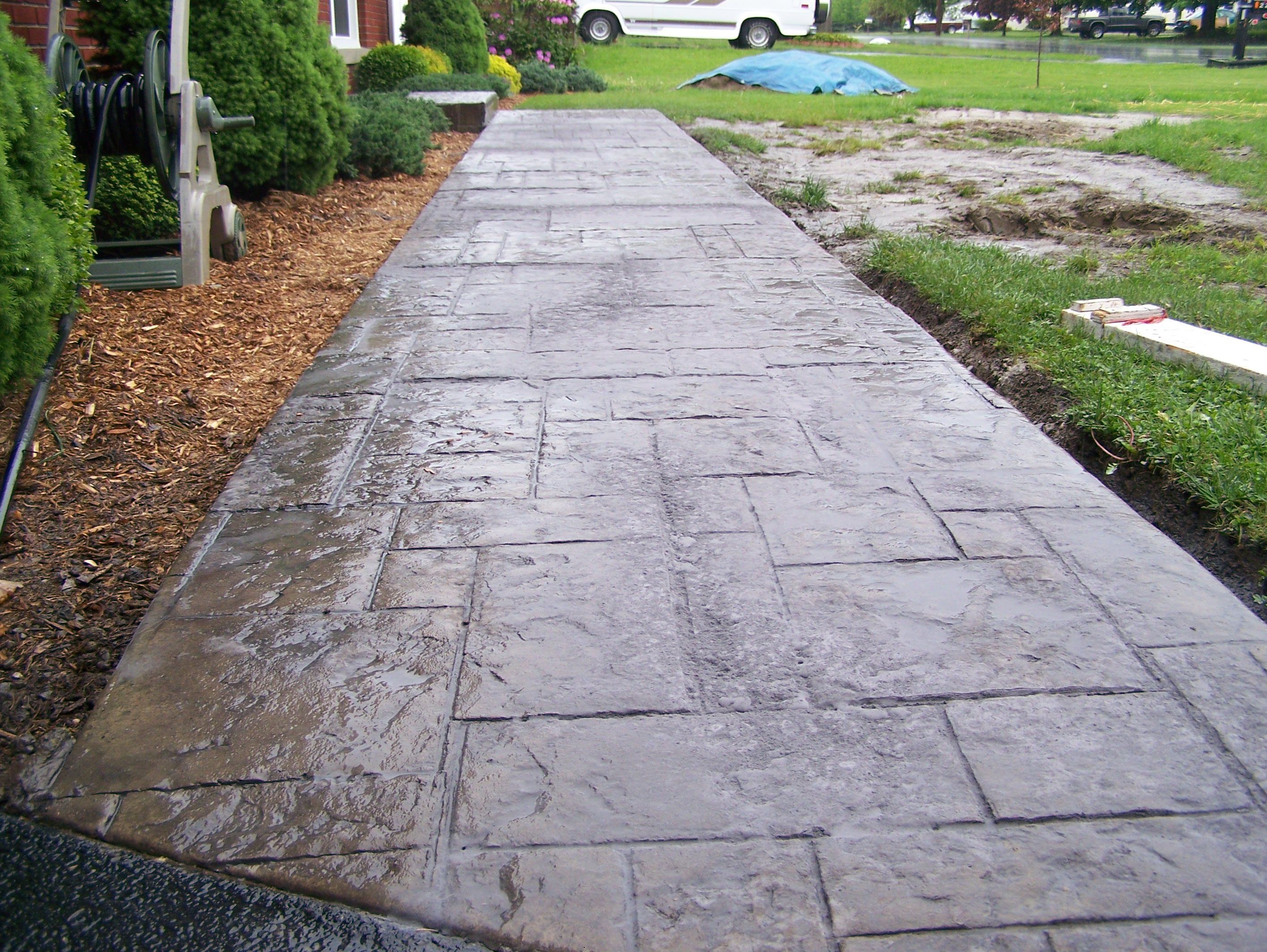 Stamped colored concrete sidewalk concrete pinterest - Stamped concrete walkway ideas ...