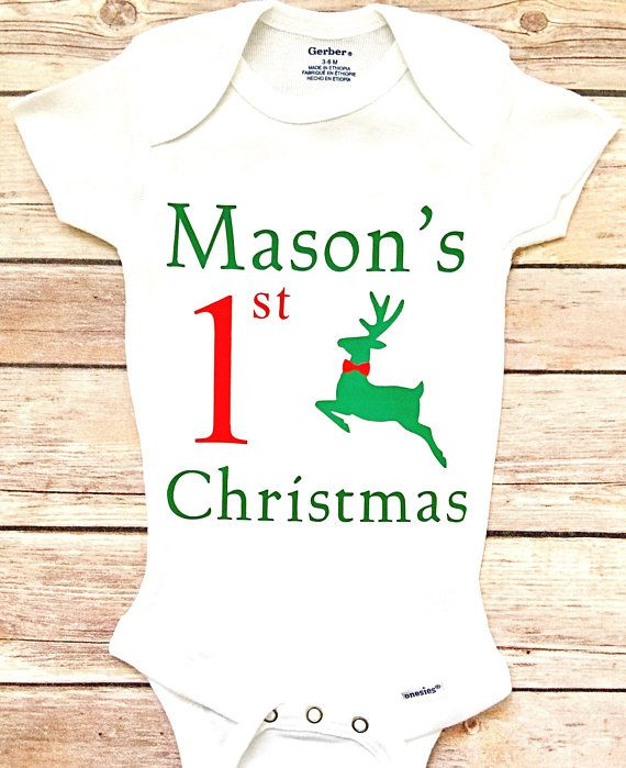 bf98e81a4 My First Christmas Outfit, Custom Christmas Outfit, Baby's 1st Christmas  Onesie, Boy 1st Christmas,