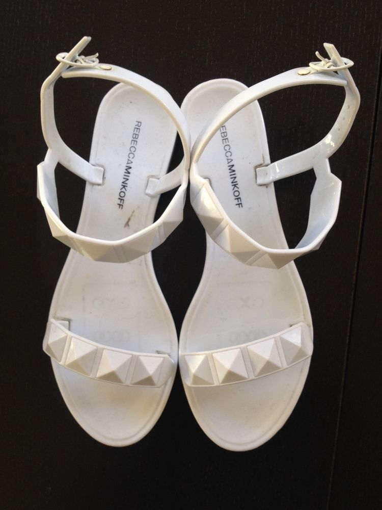 97912d055af9 Pre-Owned Rebecca Minkoff Jana Studded Sandal WHITE Size 7  49.97 Flat Jelly   fashion  clothing  shoes  accessories  womensshoes  sandals (ebay link)