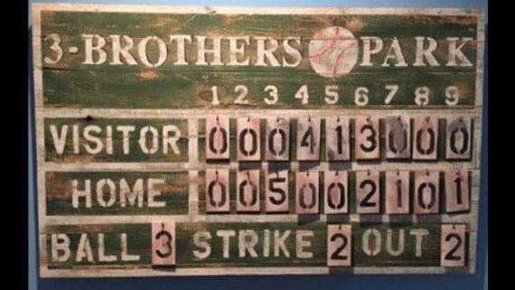 Customized Rustic Baseball Vintage Sports Scoreboard Vintage Baseball Room Vintage Sports Bedroom Baseball Room
