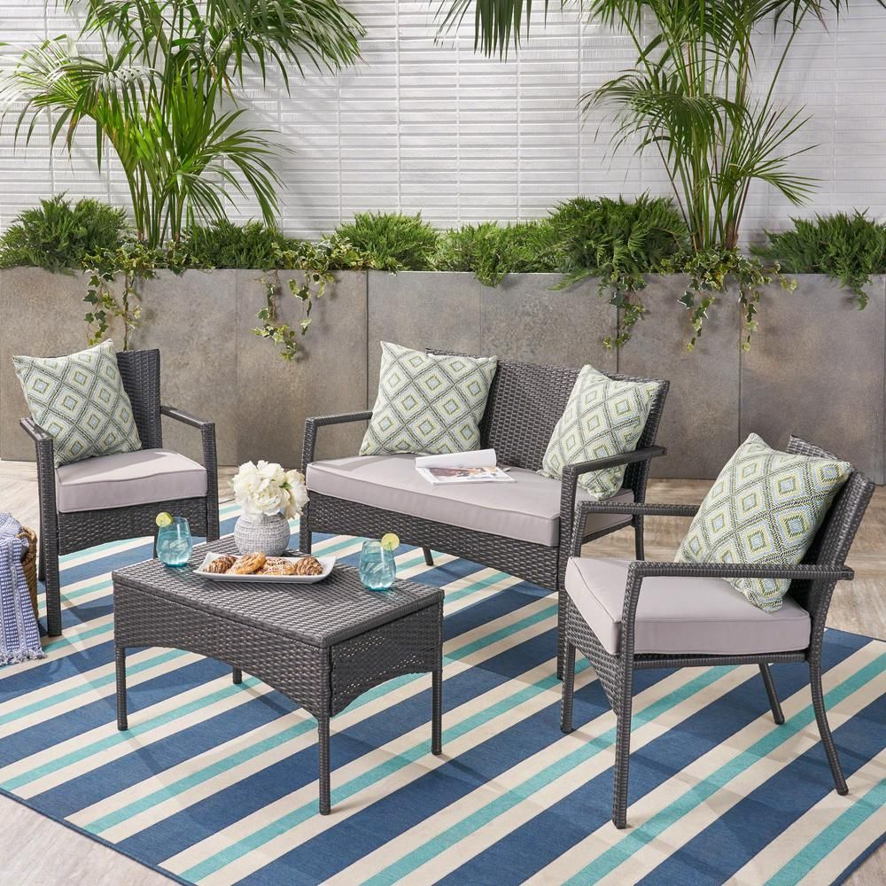 Noble House 4 Piece Wicker Patio Conversation Set With Silver