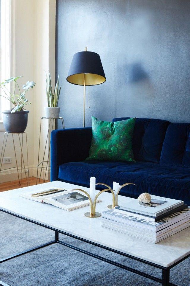 Self Care Blue Velvet Sofa Elegant Living Room Living Room Sofa
