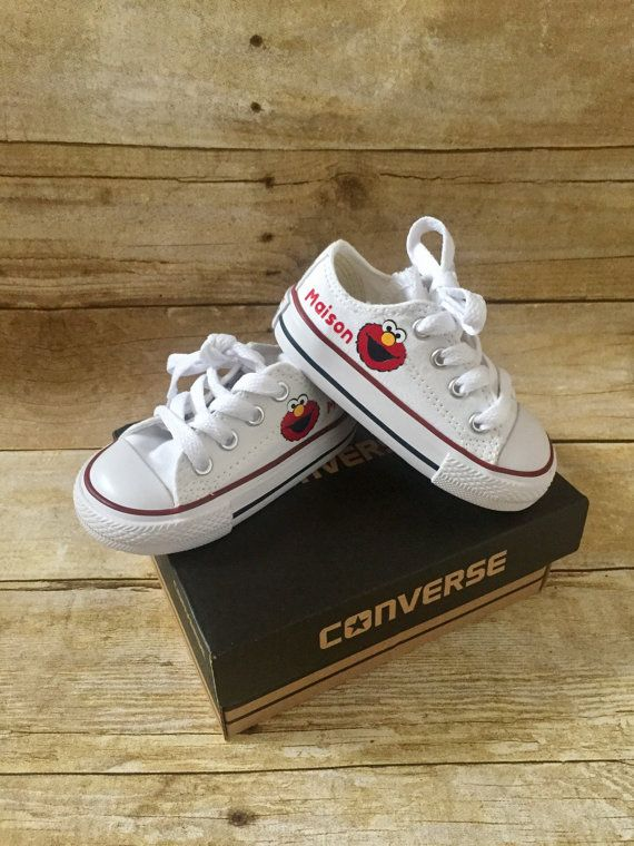 b98f1bc01d54 Elmo inspired Shoes - personalized chuck taylors - customized ...
