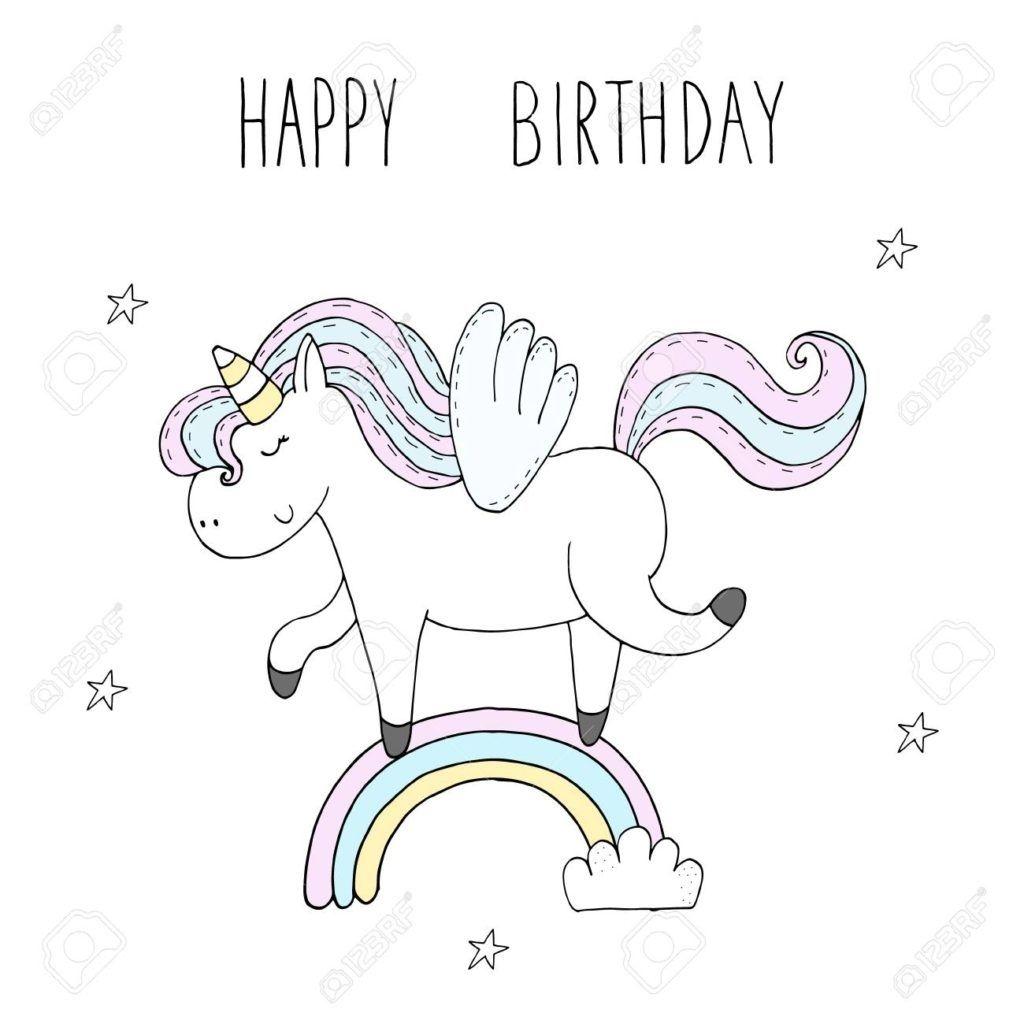 Unicorn Coloring Birthday Card