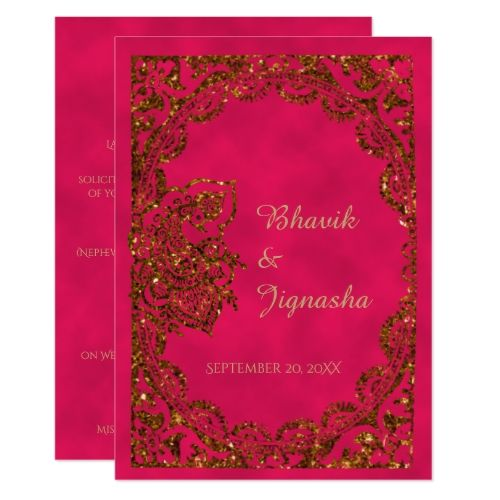 Pink and Gold Peacock Indian Wedding Invitation | Zazzle.com