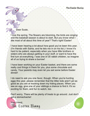 this printable letter from the easter bunny is intended for children with brothers or sisters