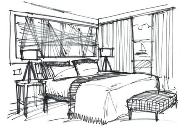 Qsketch interior design cliff house hotel sketches for Bedroom designs sketch