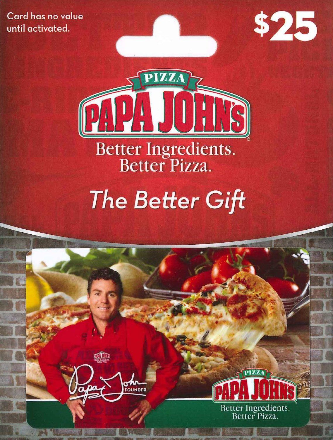Papa John's Pizza 25 Gift Card Gift Cards