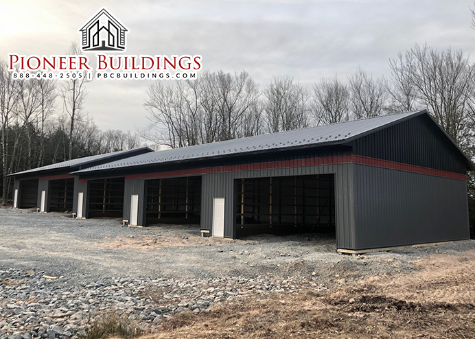 Pioneer Buildings Our Custom Commercial Division Check Out This Multi Height 40 W X 143 L With An 87 L At 1 Steel Entry Doors Roof Colors Pole Buildings