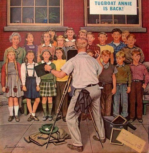 """School Pictures"". Stevan Dohanos (1907 – 1994, American)"