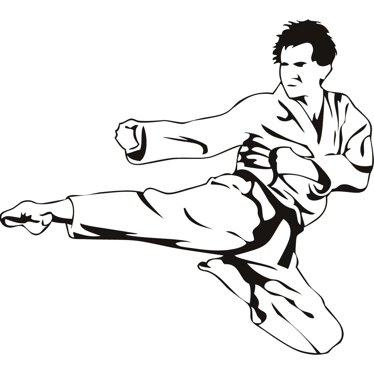 Free coloring pages karate - Karate Flying Kick Martial Arts Sketch Http Colorasketch Com Karate
