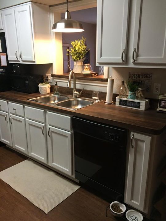 We Recently Redid Our Kitchen Counters With Vinyl Floor Planks We Were Going For The Butcher Block Look Kitchen Remodel Countertops Butcher Block Countertops