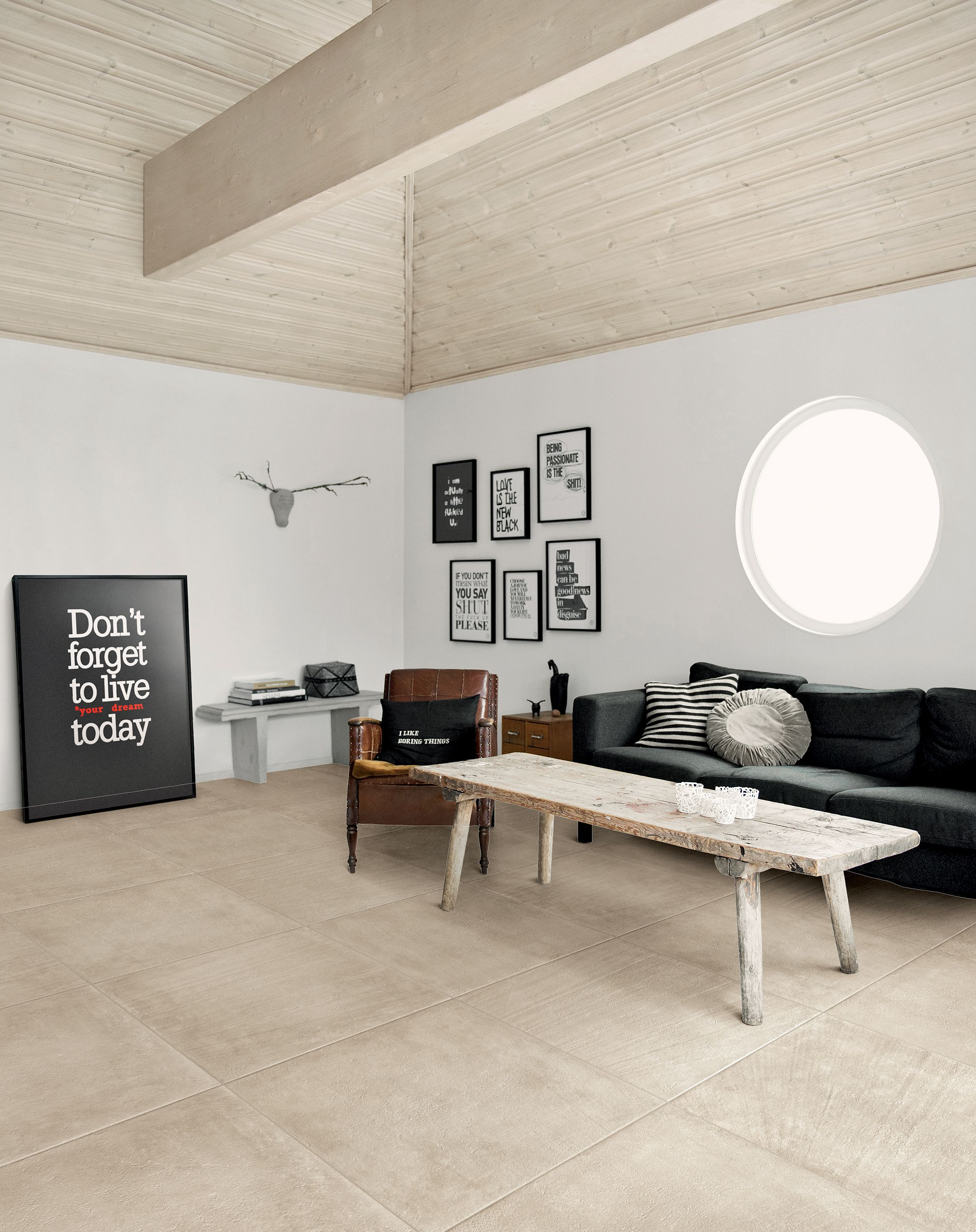 Porcelain #stoneware floor #tiles with #concrete effect BLEND