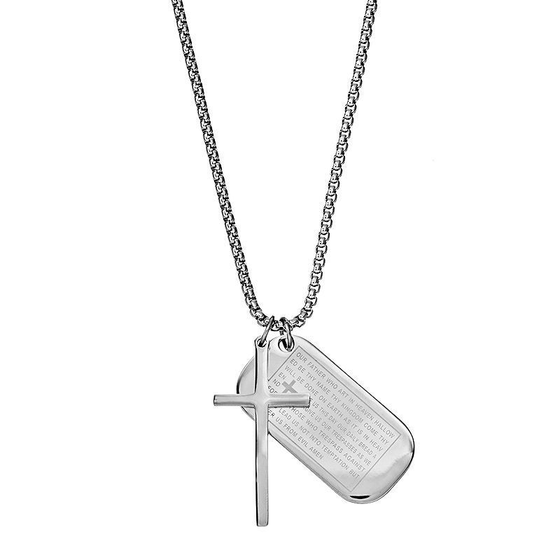 1913 Men S Stainless Steel The Lord S Prayer Dog Tag Necklace Silver Dog Tag Necklace Stainless Steel Necklace Necklace